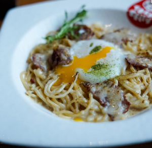 Grilled Carabonara Pasta